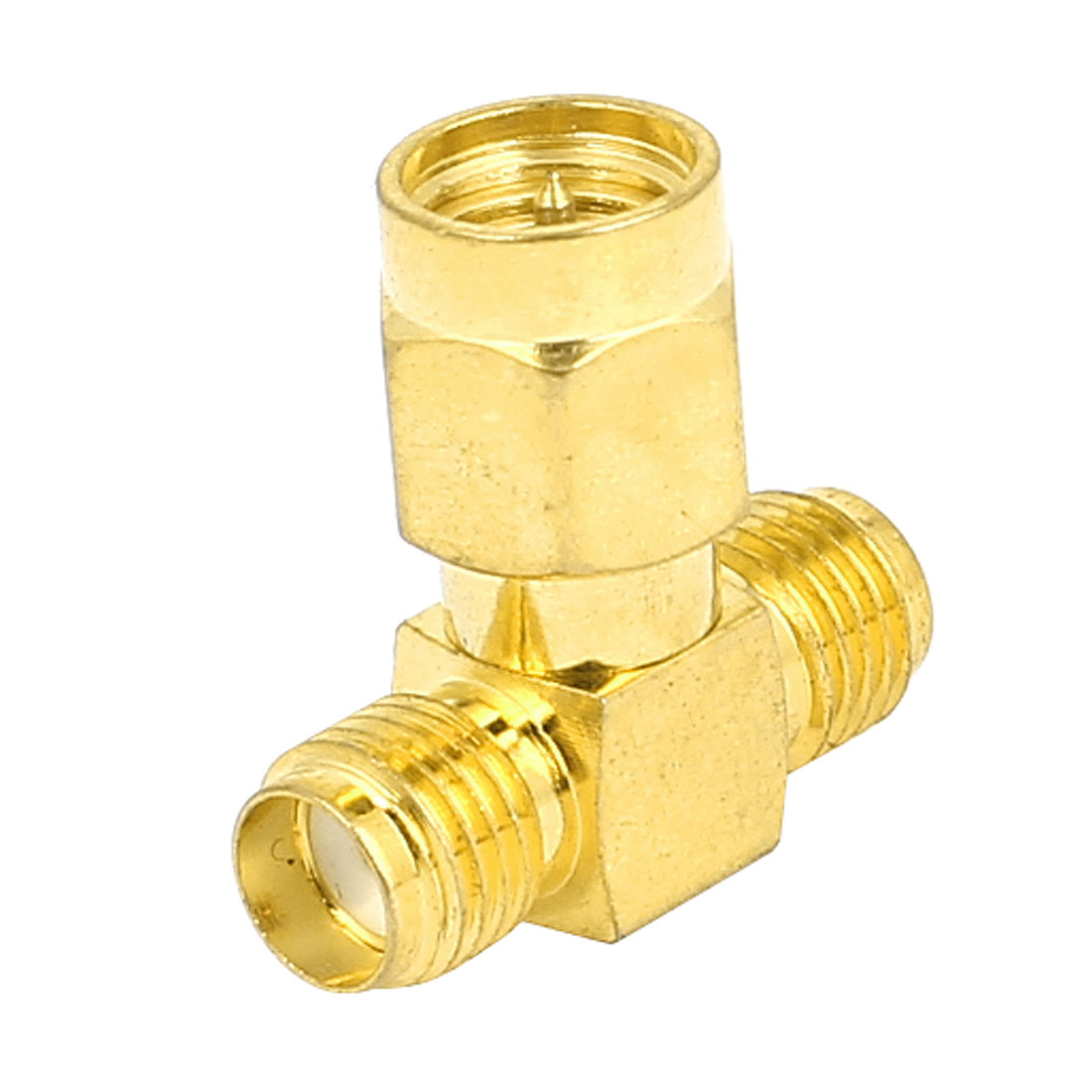 Gold Tone Straight SMA Male to Double SMA Female RF Coax Tee Connector