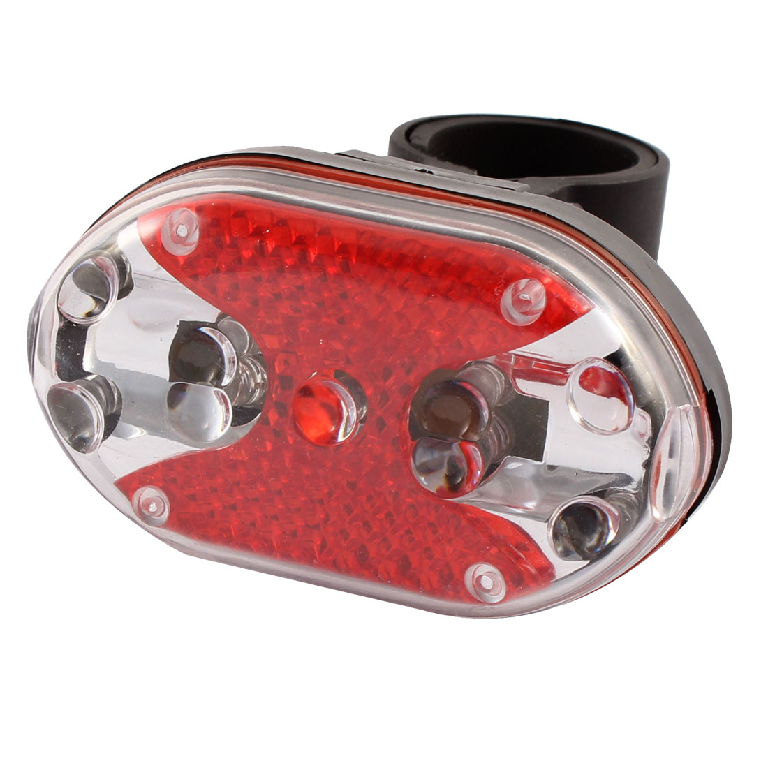Battery Powered Red 9 LEDs Bike Safety Warning Light w Mount Stand