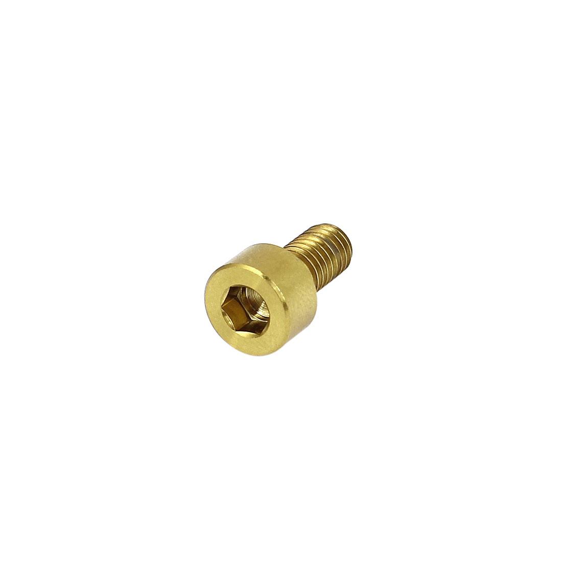 M5x10mm Gold Tone Titanium Socket Cap Screws Bike Hex Head Key Bolts DIN 912