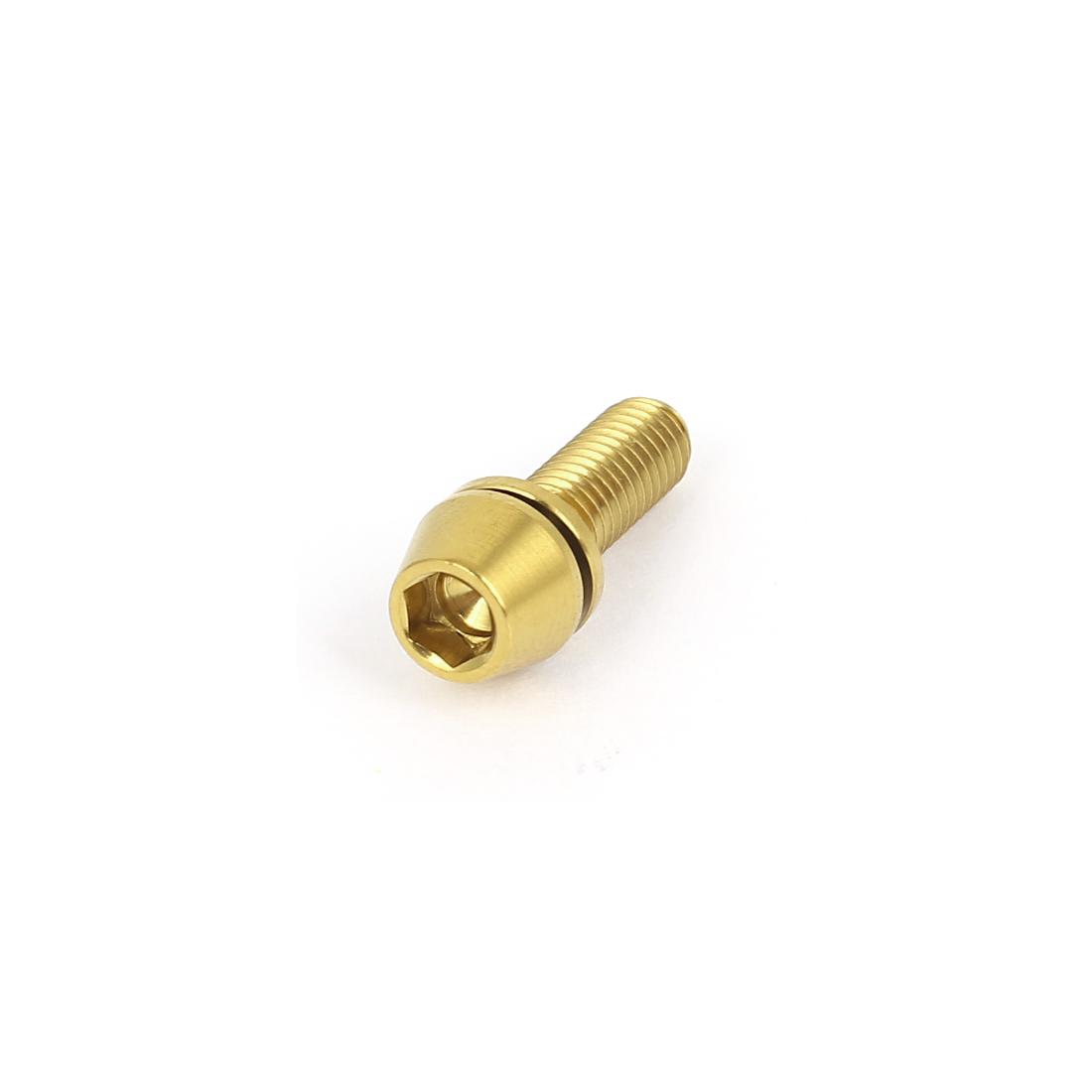 M5x0.8mmx16mm Gold Tone Titanium Hex Key Washer Taper Head Bolt Bike MTB Screw