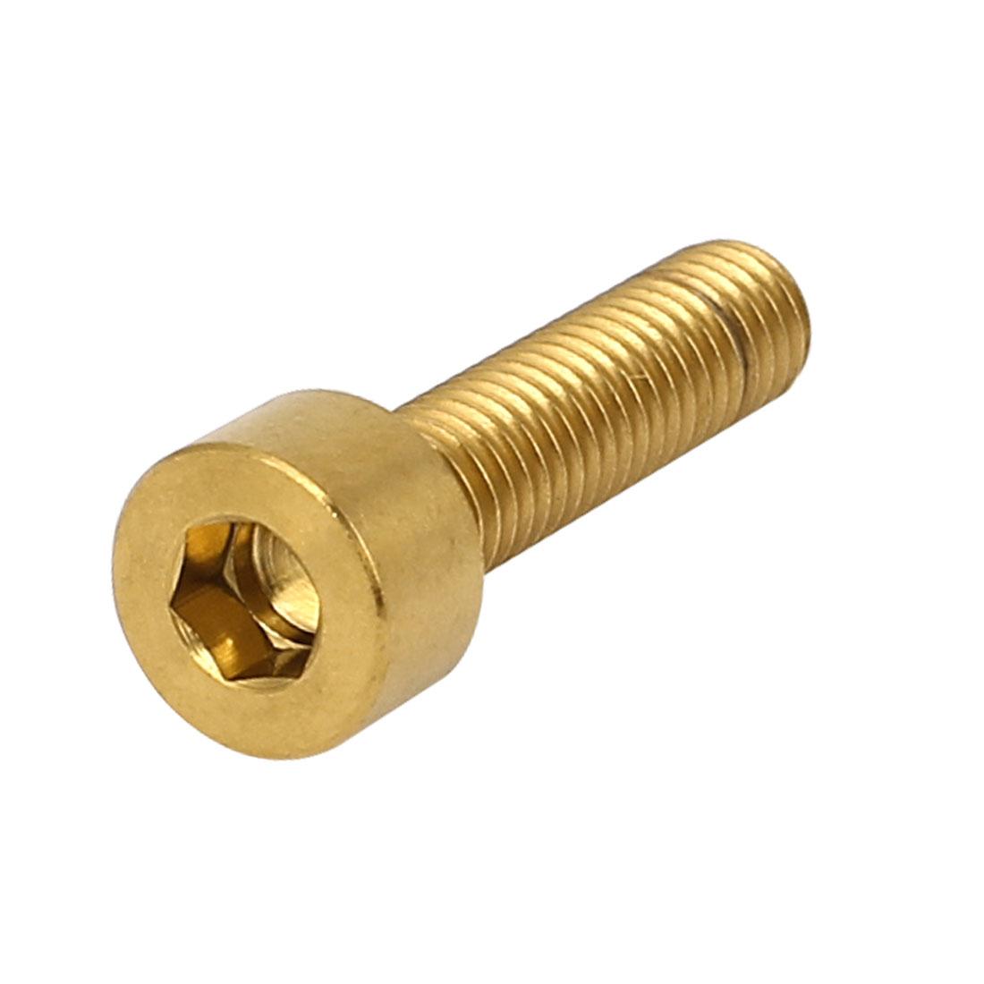 M5x20mm Gold Tone TC4 Titanium MTB Bike Hex Socket Cap Head Bolts Screws DIN 912
