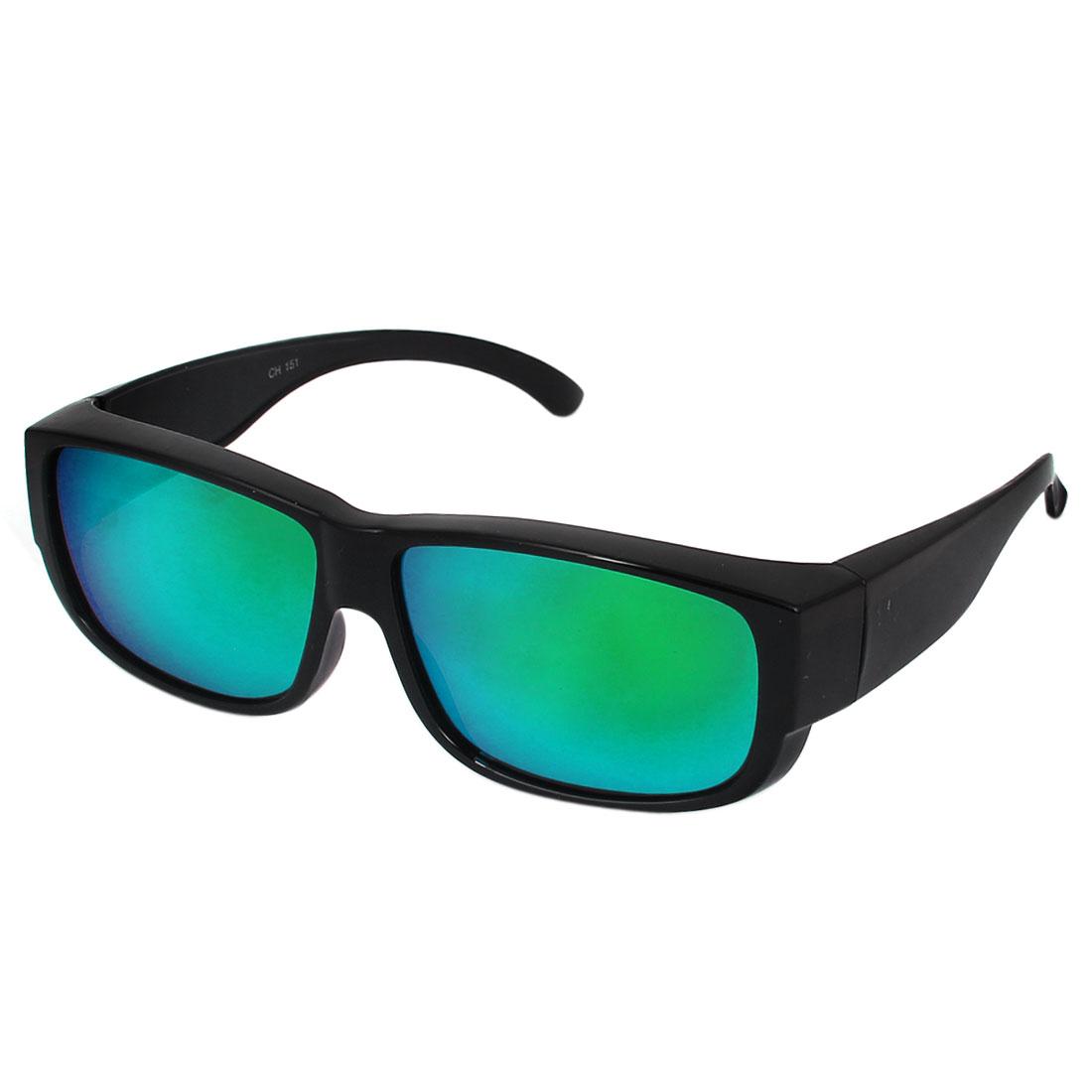 Unisex Outdoor Adornment Plastic Full Frame Single Bridge Polarized Glasses Green Lens Black
