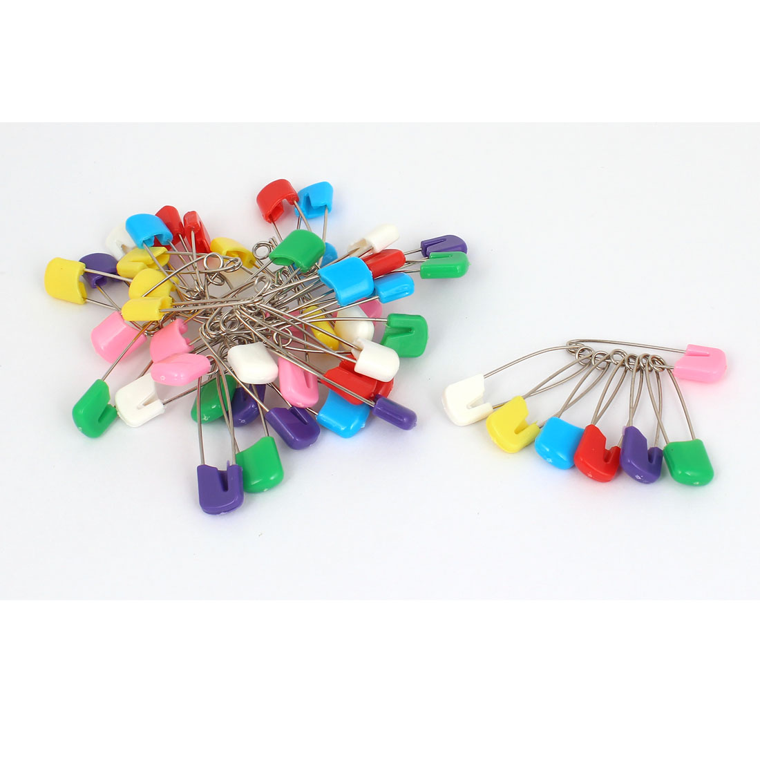 49 Pcs Plastic Head Locking Artificial Safety Pins 4cm Long Assorted Color