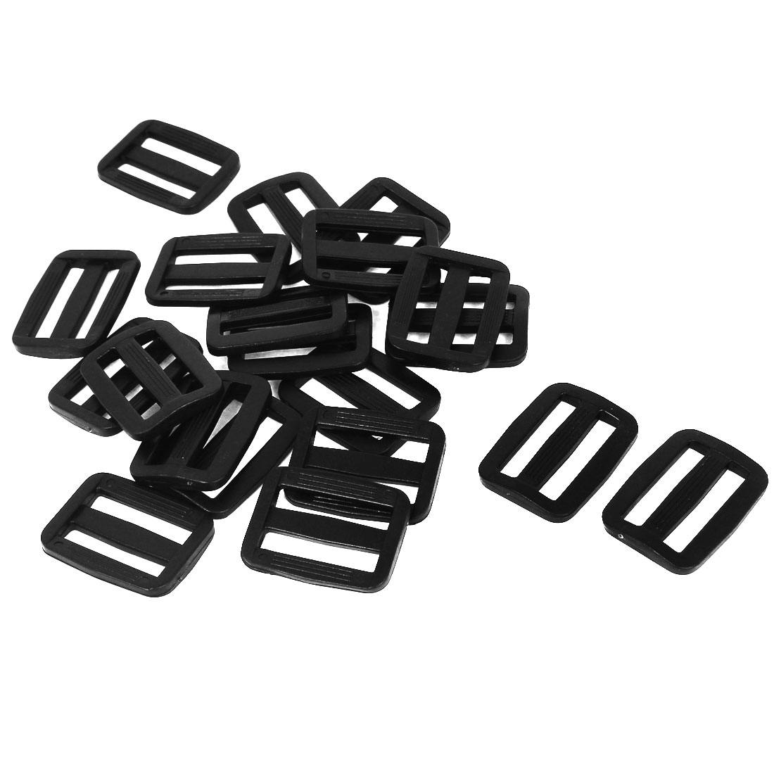 20 Pcs Black Hard Plastic Slide Rectangle Buckle Luggage Bag Replacement 2.5CM