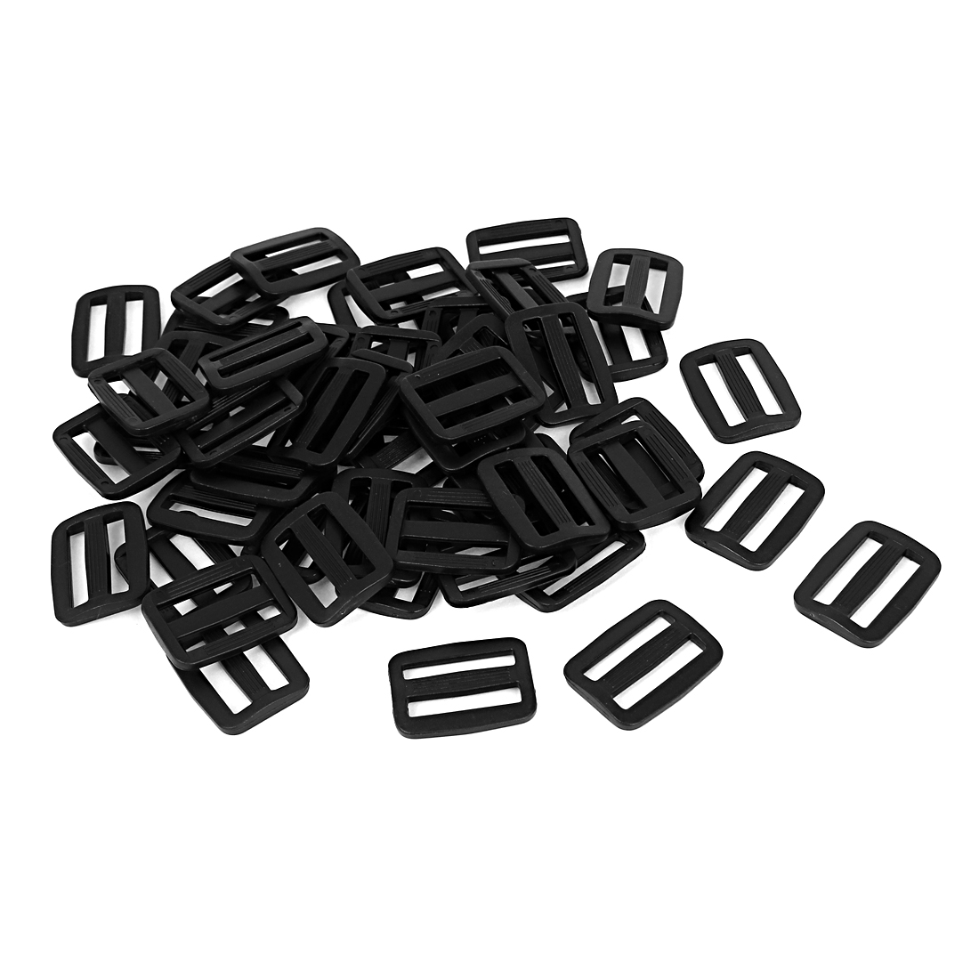 50 Pcs Black Hard Plastic Slide Rectangle Buckle Luggage Bag Replacement 2.5CM