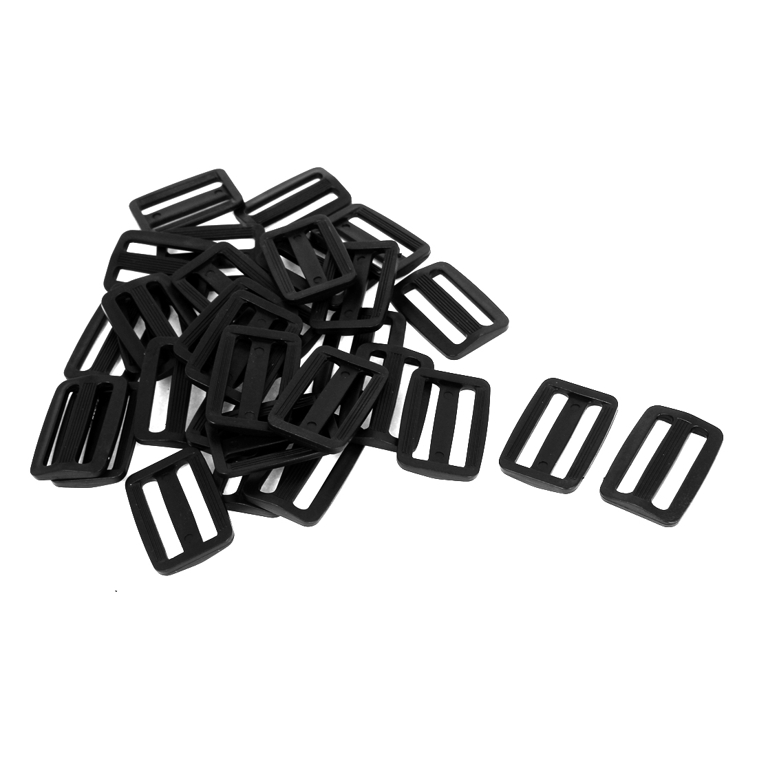50 Pcs Black Hard Plastic Slide Rectangle Buckle Luggage Bag Replacement 3.2CM