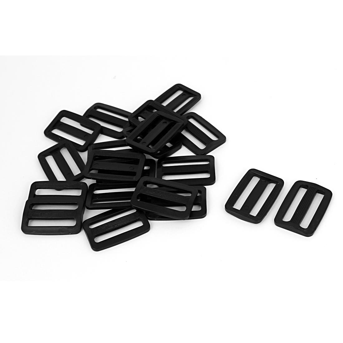 20 Pcs Black Hard Plastic Slide Rectangle Buckle Luggage Bag Replacement 3.2CM
