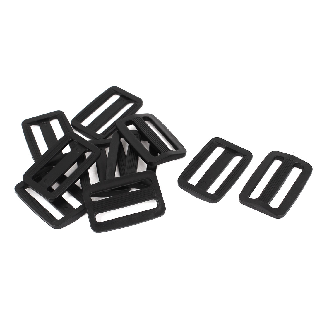 10 Pcs Black Hard Plastic Slide Rectangle Buckle Luggage Bag Replacement 3.2CM