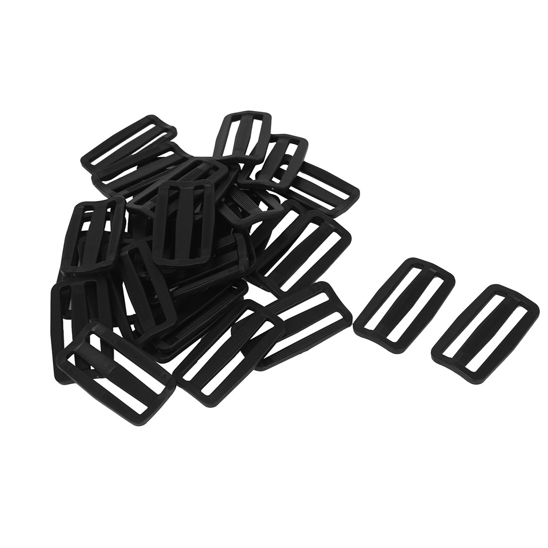 50 Pcs Black Hard Plastic Slide Rectangle Buckle Luggage Bag Replacement 5.0CM