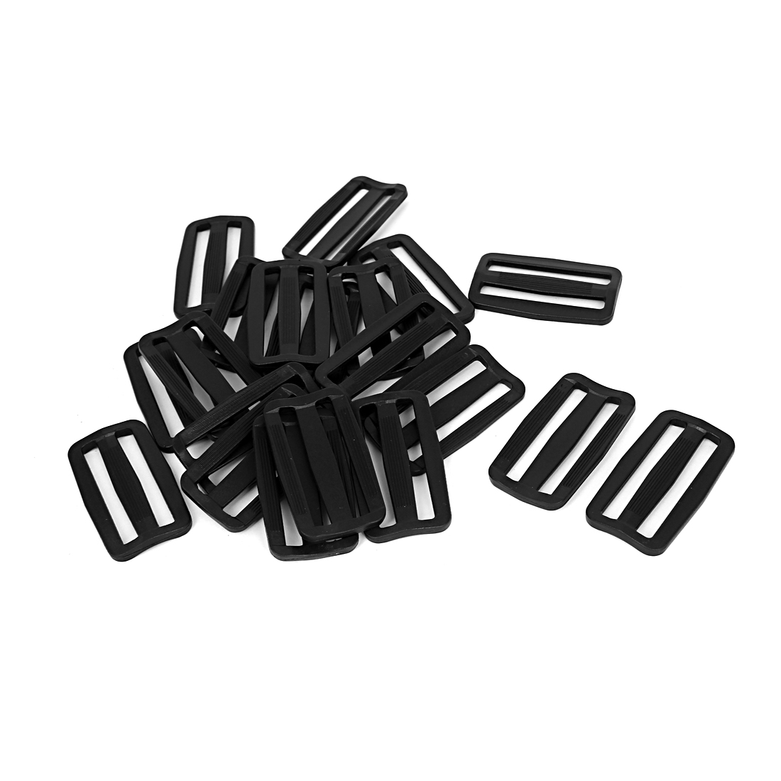 20 Pcs Black Hard Plastic Slide Rectangle Buckle Luggage Bag Replacement 5.0CM