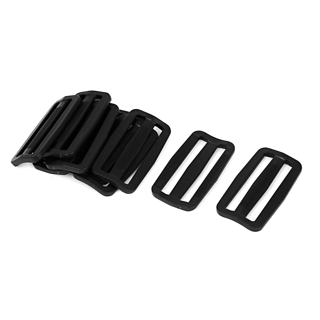 10 Pcs Black Hard Plastic Slide Rectangle Buckle Luggage Bag Replacement 5.0CM
