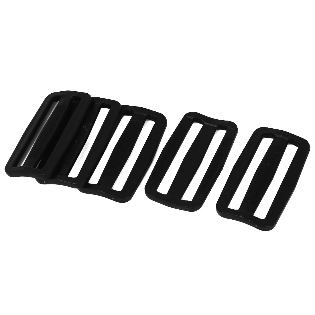 5 Pcs Black Hard Plastic Slide Rectangle Buckle Luggage Bag Replacement 5.0CM