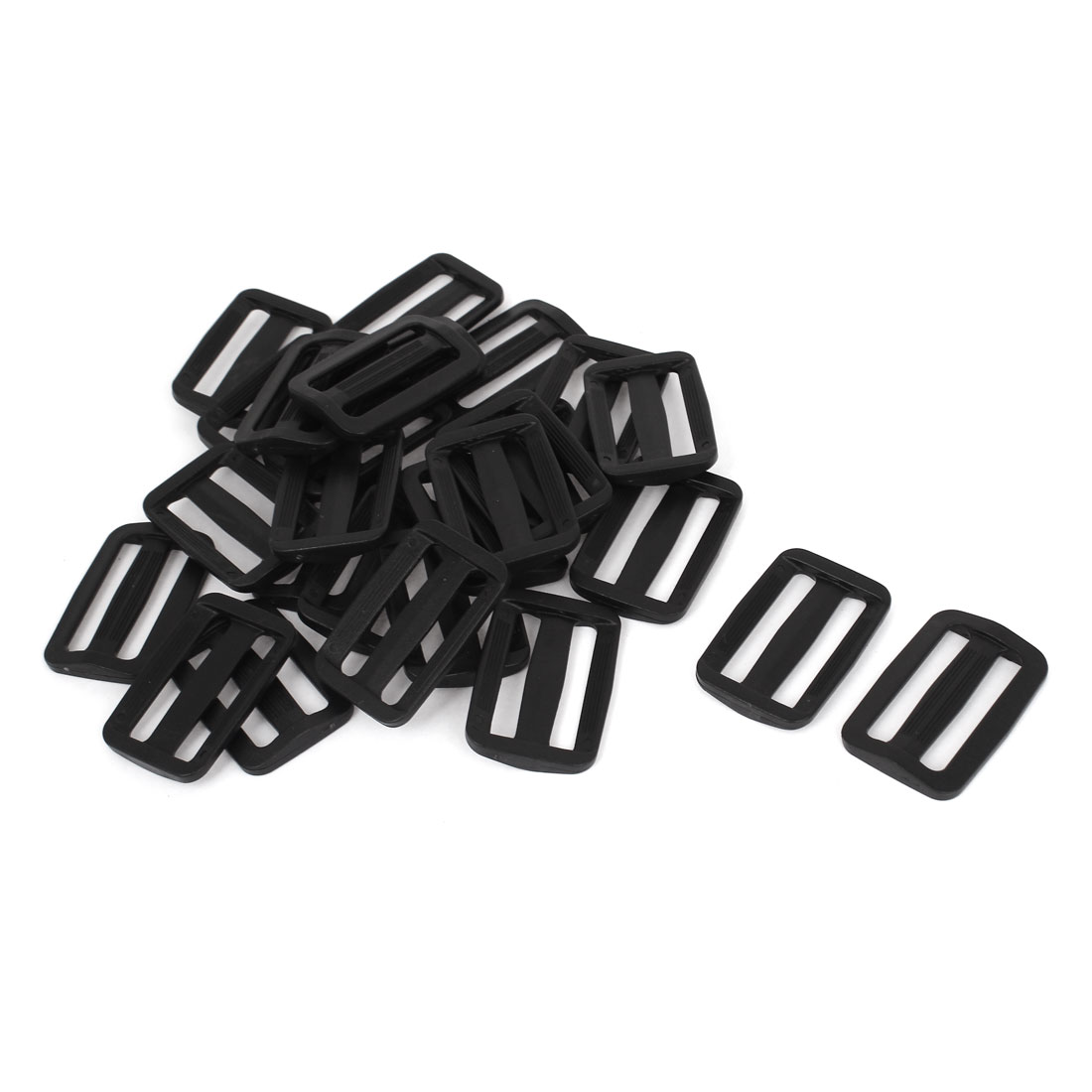 30 Pcs Black Hard Plastic Slide Rectangle Buckle Luggage Bag Replacement 3.8CM