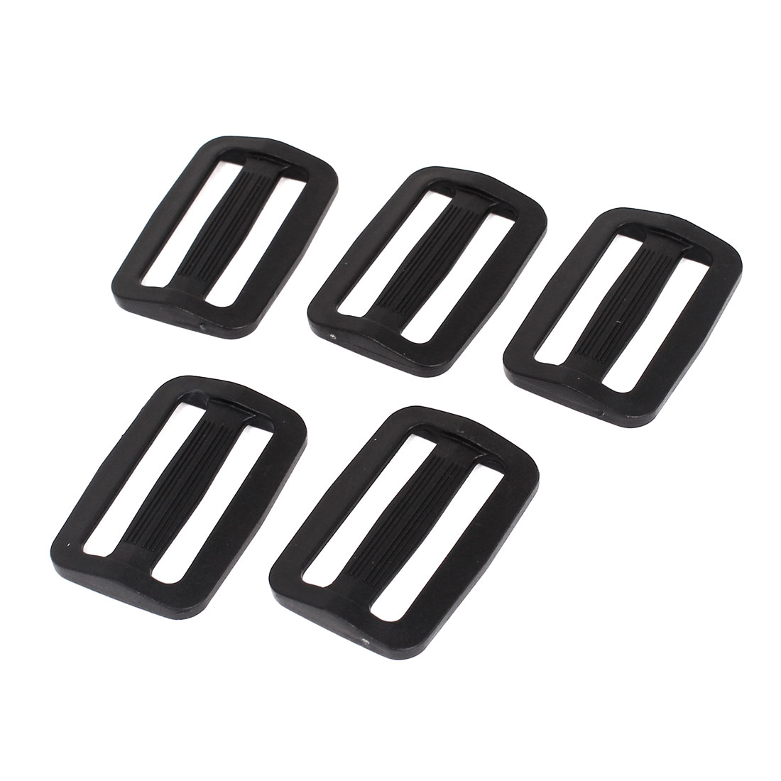 5 Pcs Black Hard Plastic Slide Rectangle Buckle Luggage Bag Replacement 3.8CM