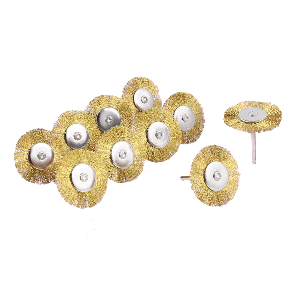10pcs 3mm Shank 40mm Dia Crimped Brass Wire Wheel Polishing Brushes 40mm Long