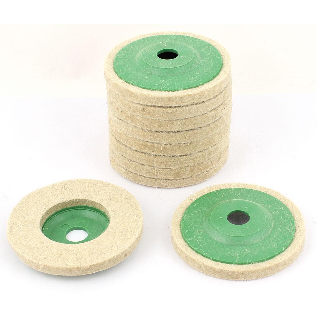 Beige 95mm Outer Dia Wool Felt Polishing Wheel Buffing Discs Pads 10pcs