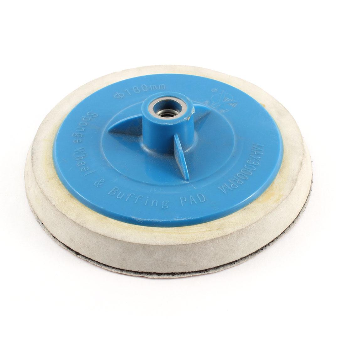 "M14 180mm 7"" Dia Hook & Loop Polishing Buffing Pad Wheel Disc w Sanding Paper"