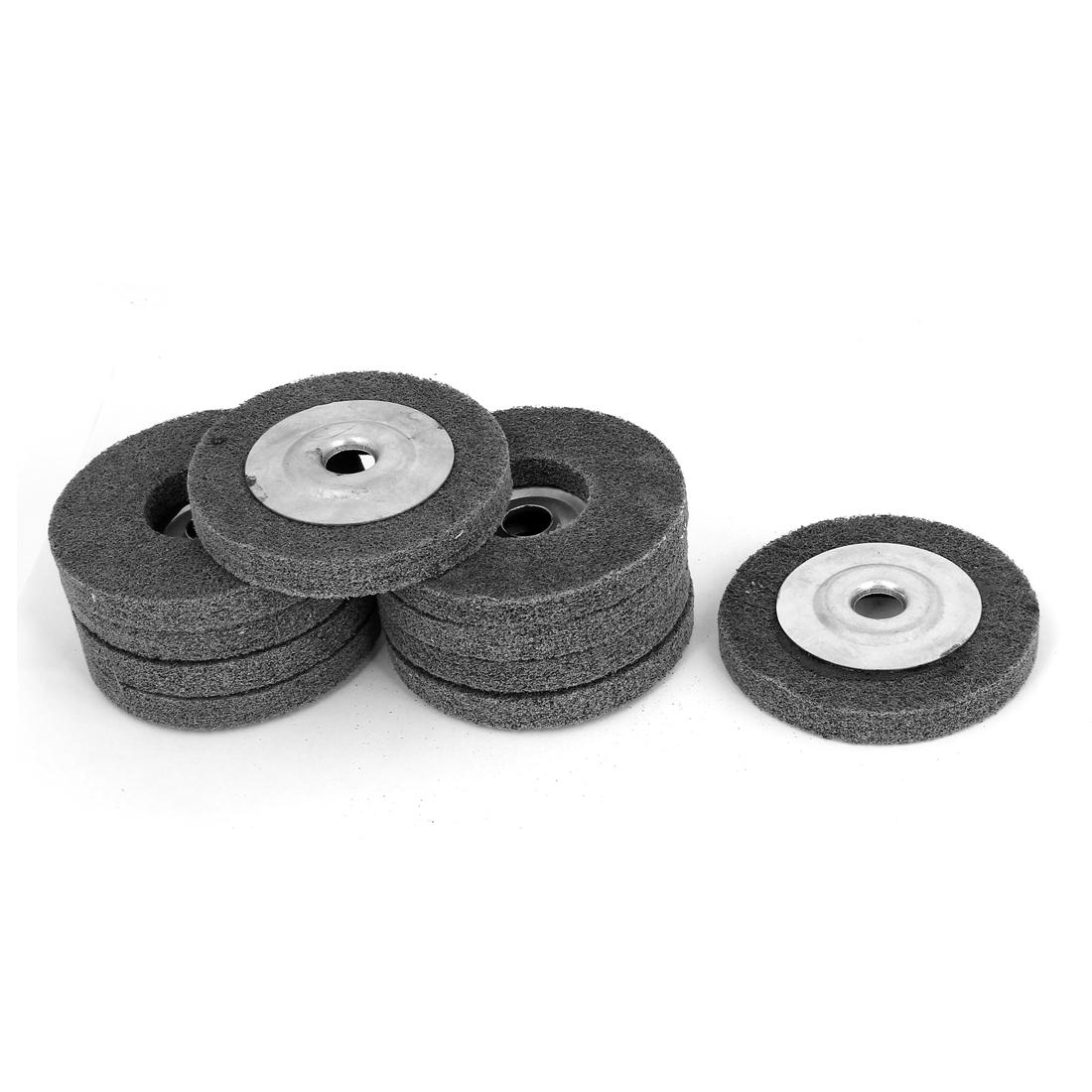 16mm Bore 100mm Dia Nylon Fiber Wheel Abrasive Polishing Buffing Disc Gray 10pcs