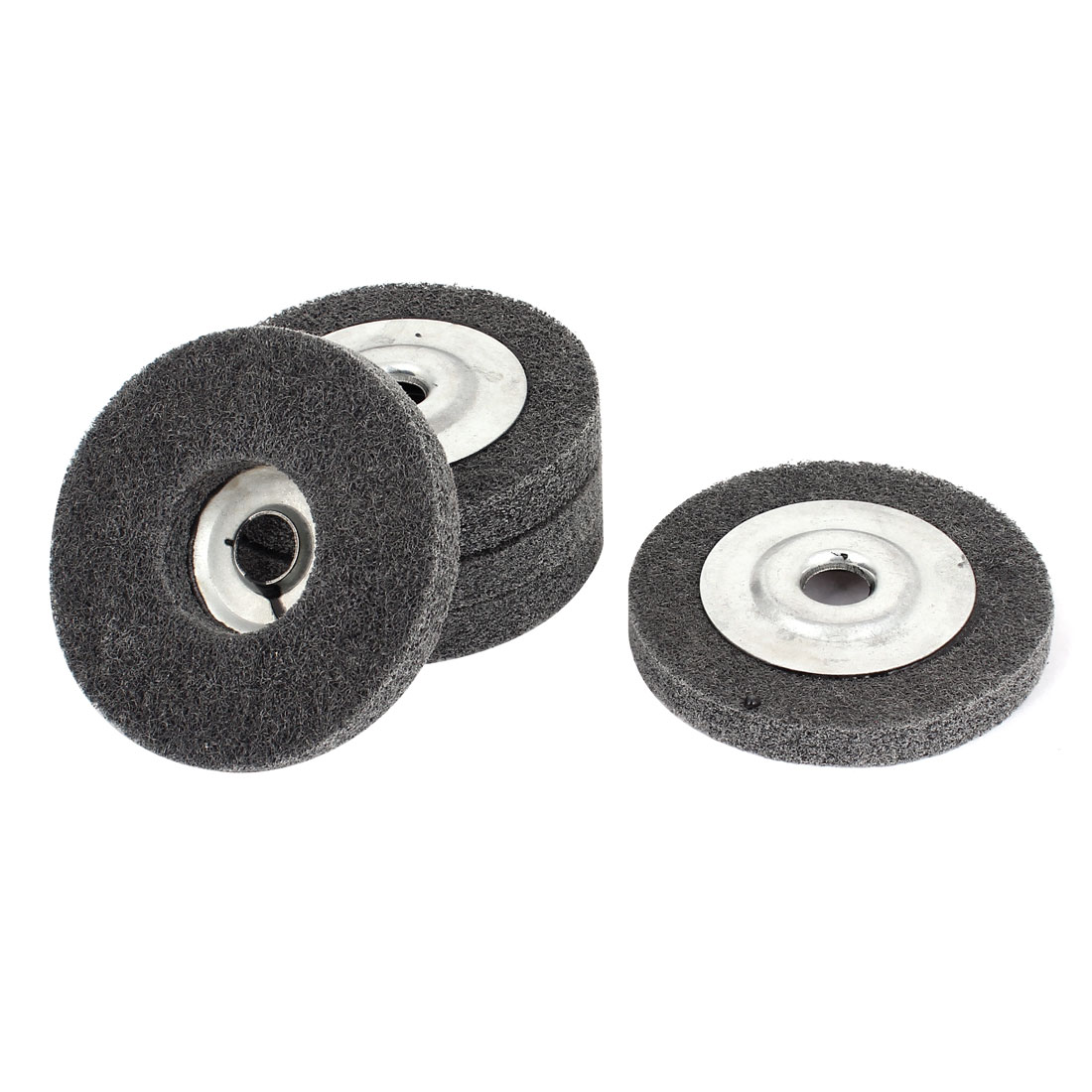 15mm Bore 100mm Dia Nylon Fiber Wheel Abrasive Polishing Buffing Disc Gray 5pcs