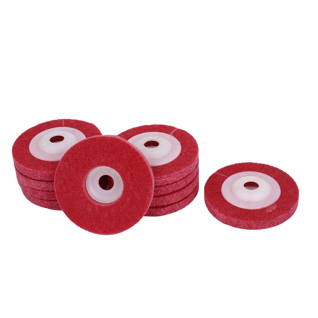 16mm Bore 100mm Dia Nylon Fiber Wheel Abrasive Polishing Buffing Disc Red 10pcs