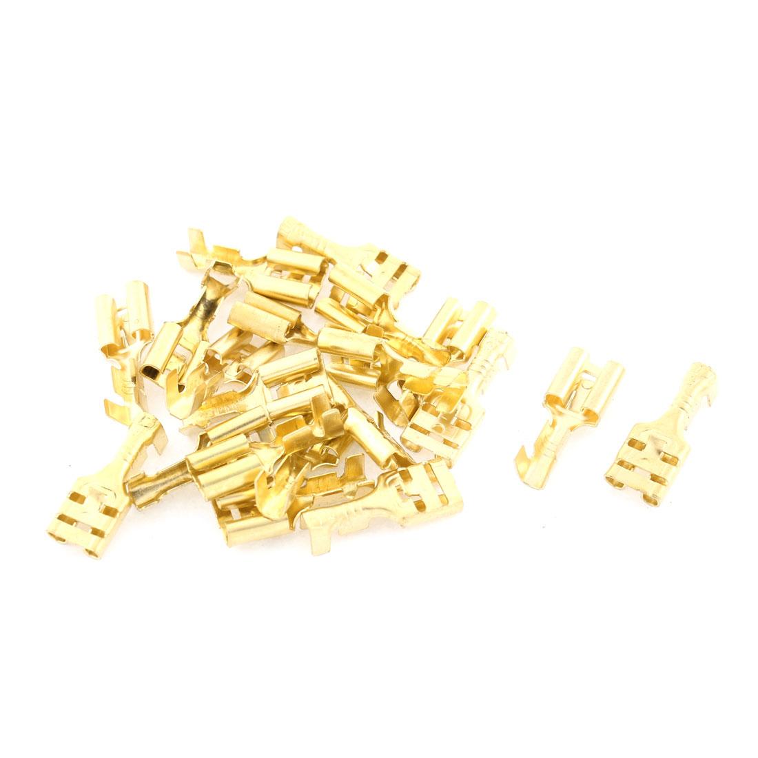 20 Pcs 6.3mm Stud Brass Female Cable Crimp Terminal Connector