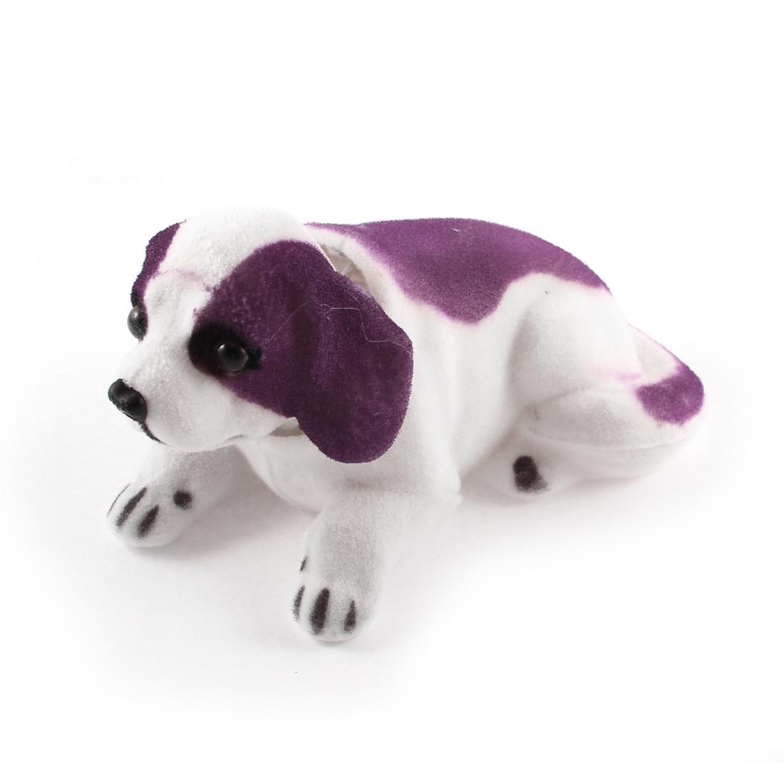 Car Dog Shape Nod Nodding Bobblehead Dashboard Decoration White Purple
