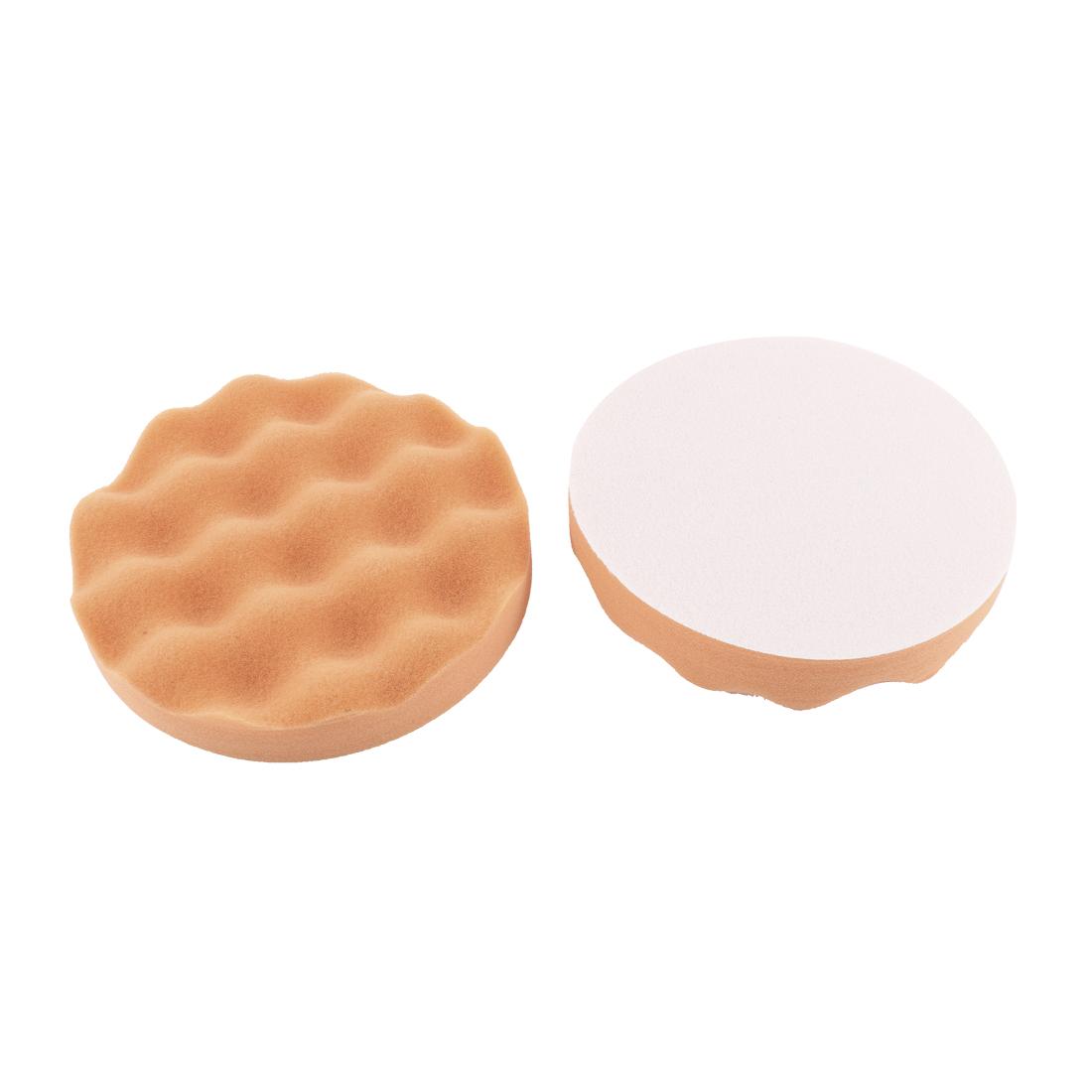 """6"""" Dia Orange Round Wash Cleaning Polishing Sponge Pad 2 Pcs for Auto Car"""