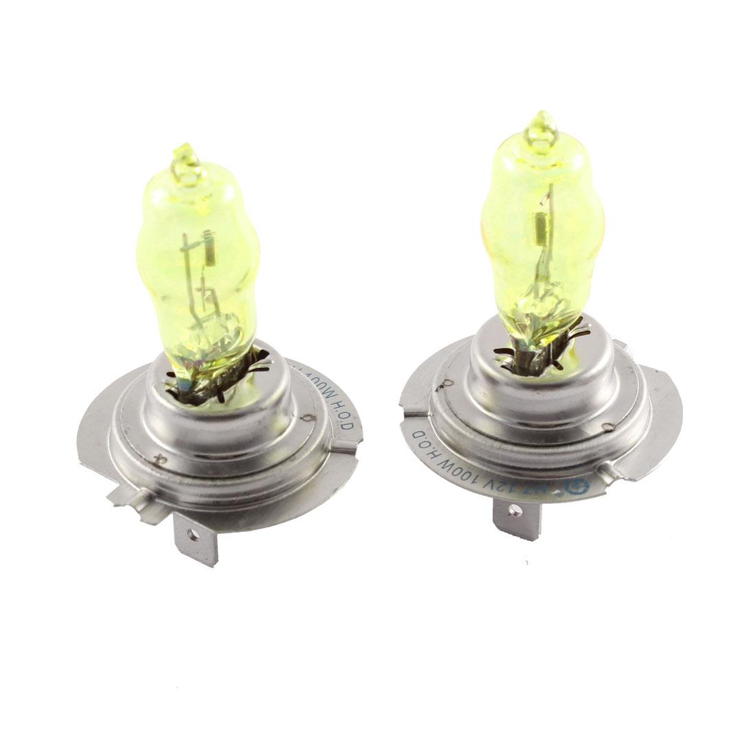 Pair H7 DC 12V 100W Amber Halogen Light Bulb Foglamp Headlight for Car