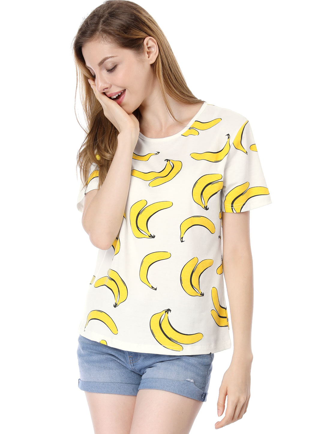 Women Short Sleeves Bananas Print T-Shirts White XL