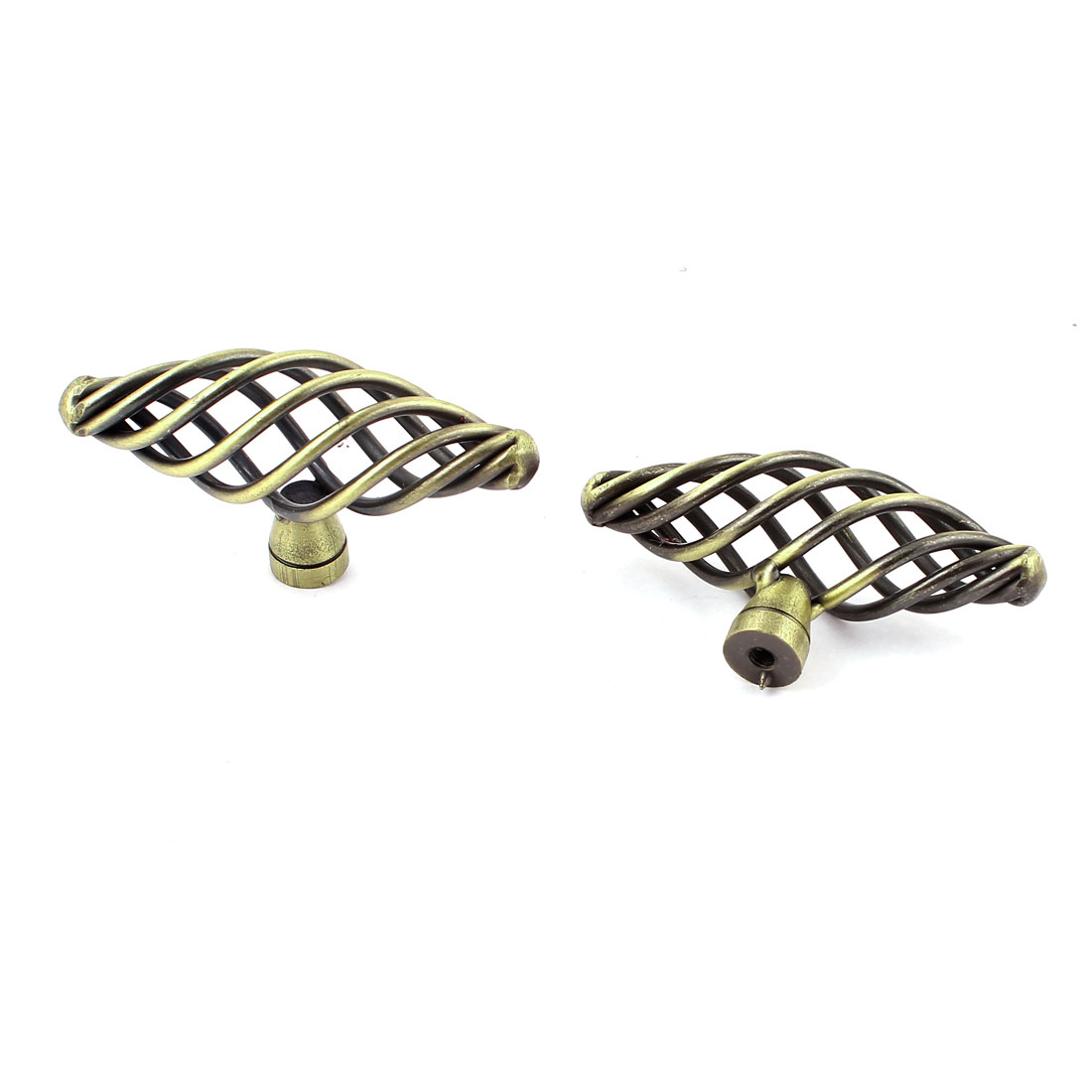 2pcs Vintage Style Twist Birdcage T-Handle Knobs Cabinet Drawer Door Pull Handle