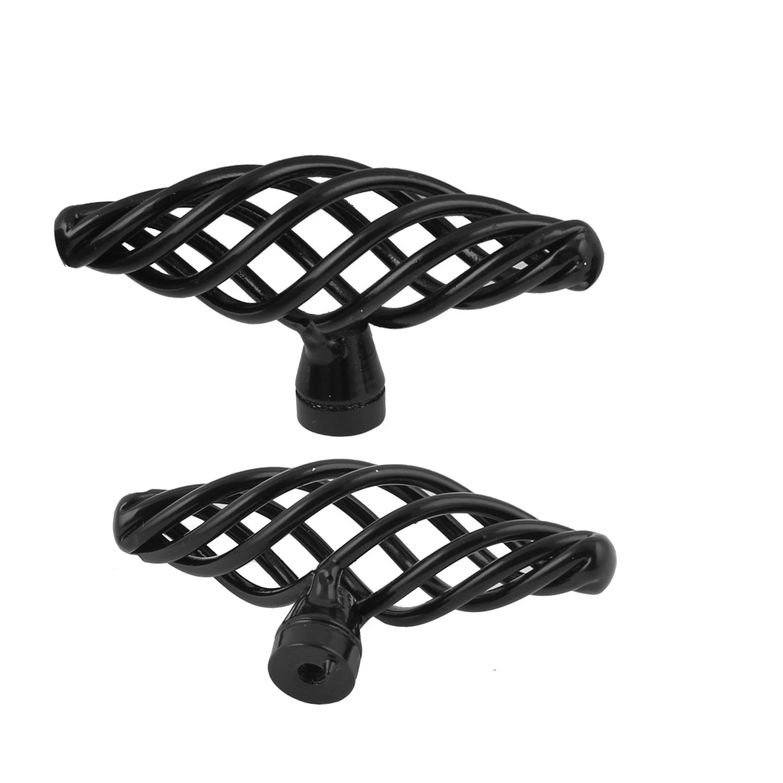 2 Pcs Black T-Handle Twist Birdcage Knobs Drawer Cabinet Cupboard Pull Handles