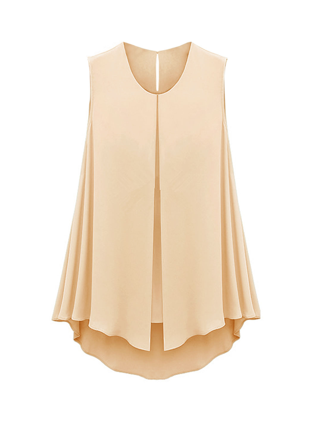 Ladies Round Neck Layered Asymmetric Hem Summer Chiffon Blouse Pale Pink S