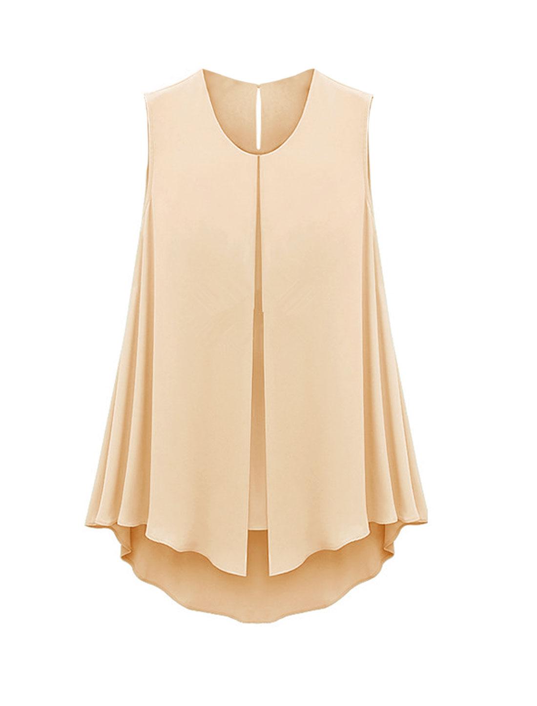 Ladies Round Neck Layered Asymmetric Hem Summer Chiffon Blouse Pale Pink S
