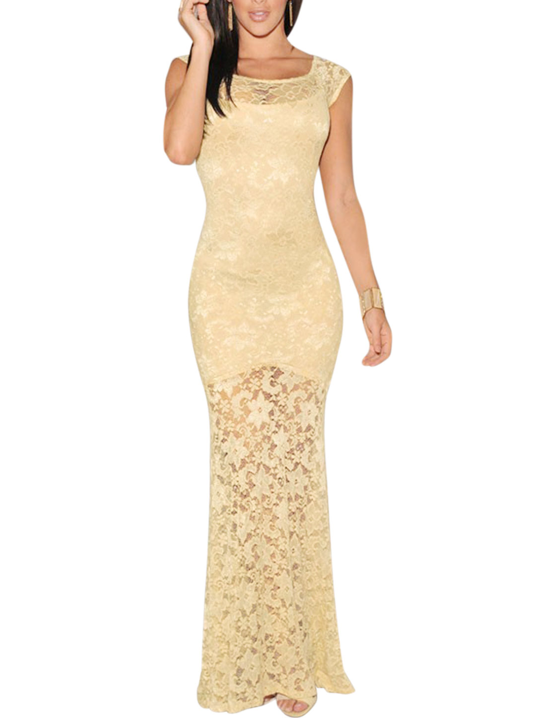 Ladies Floral Design Scoop Neck Lace Bodycon Maxi Dress Beige XS