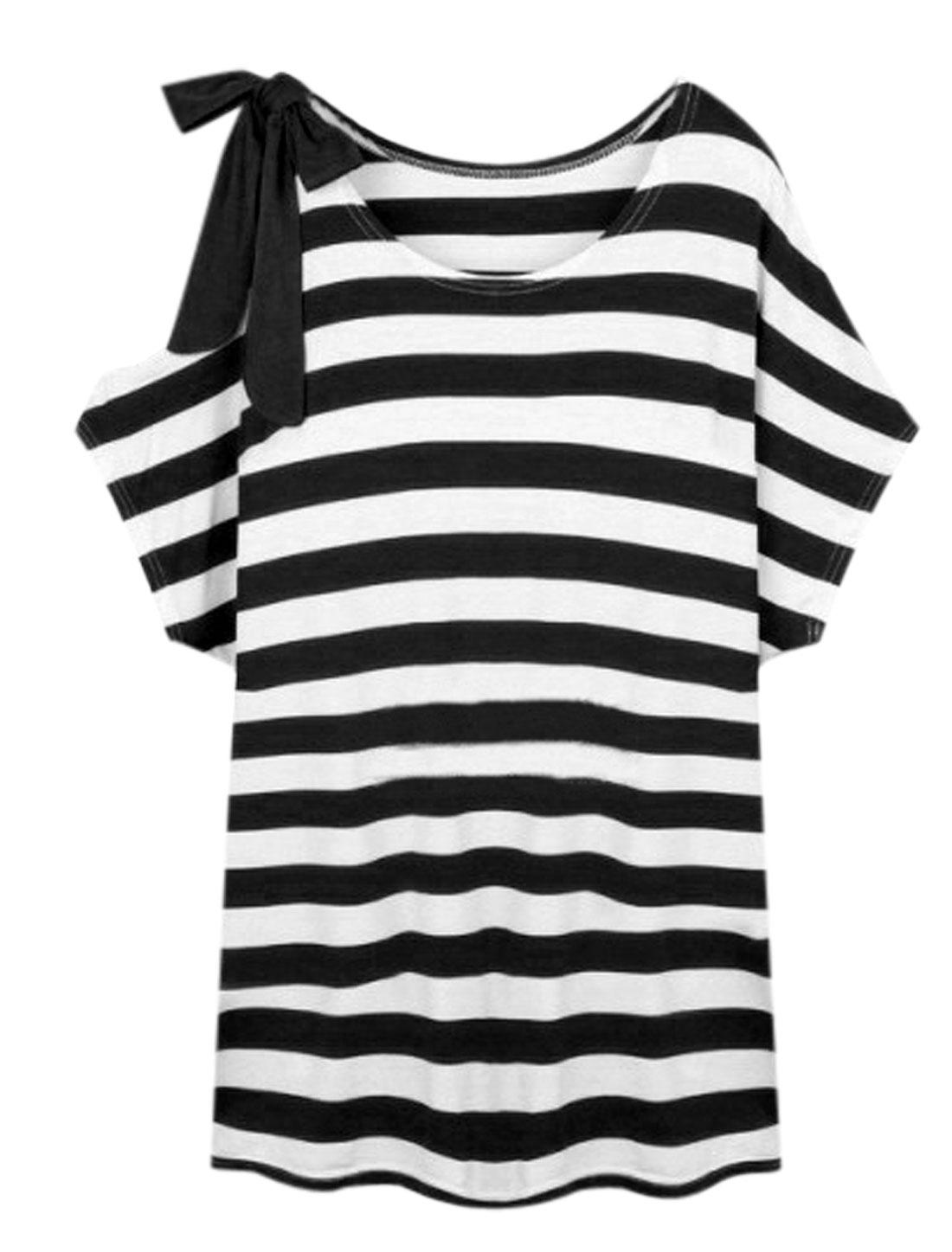 Women Round Neck Horizontal Stripes Casual Tunic Tops Black White XS