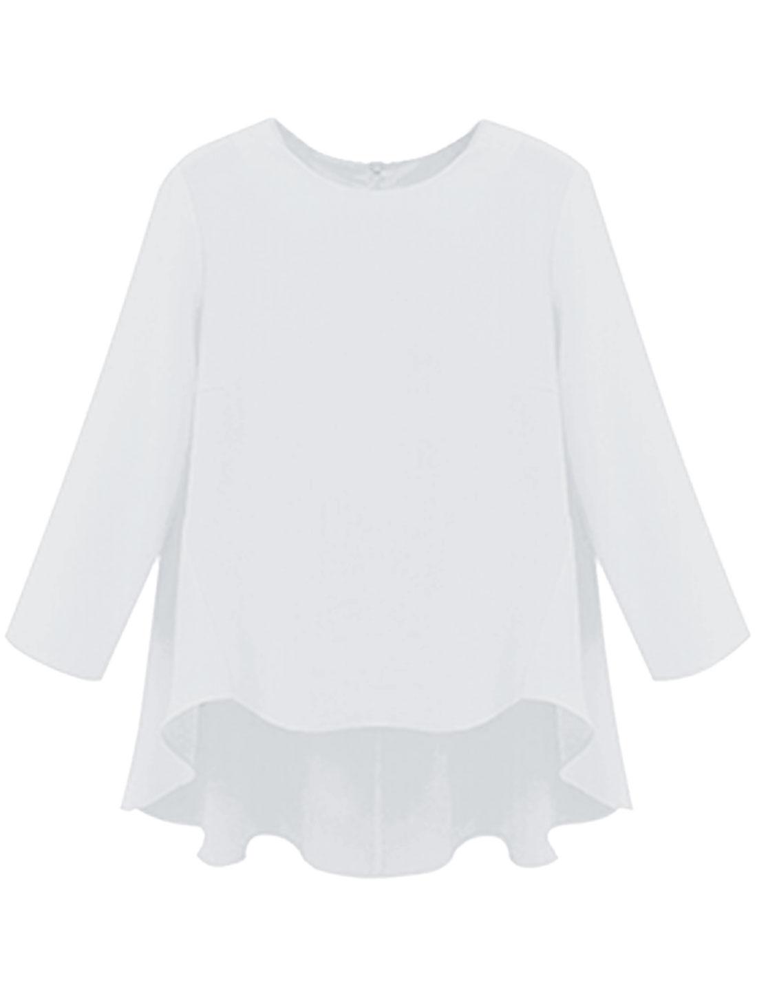 Women Asmmetric Hem Bracelet Sleeves Round Neck Chiffont Top White L