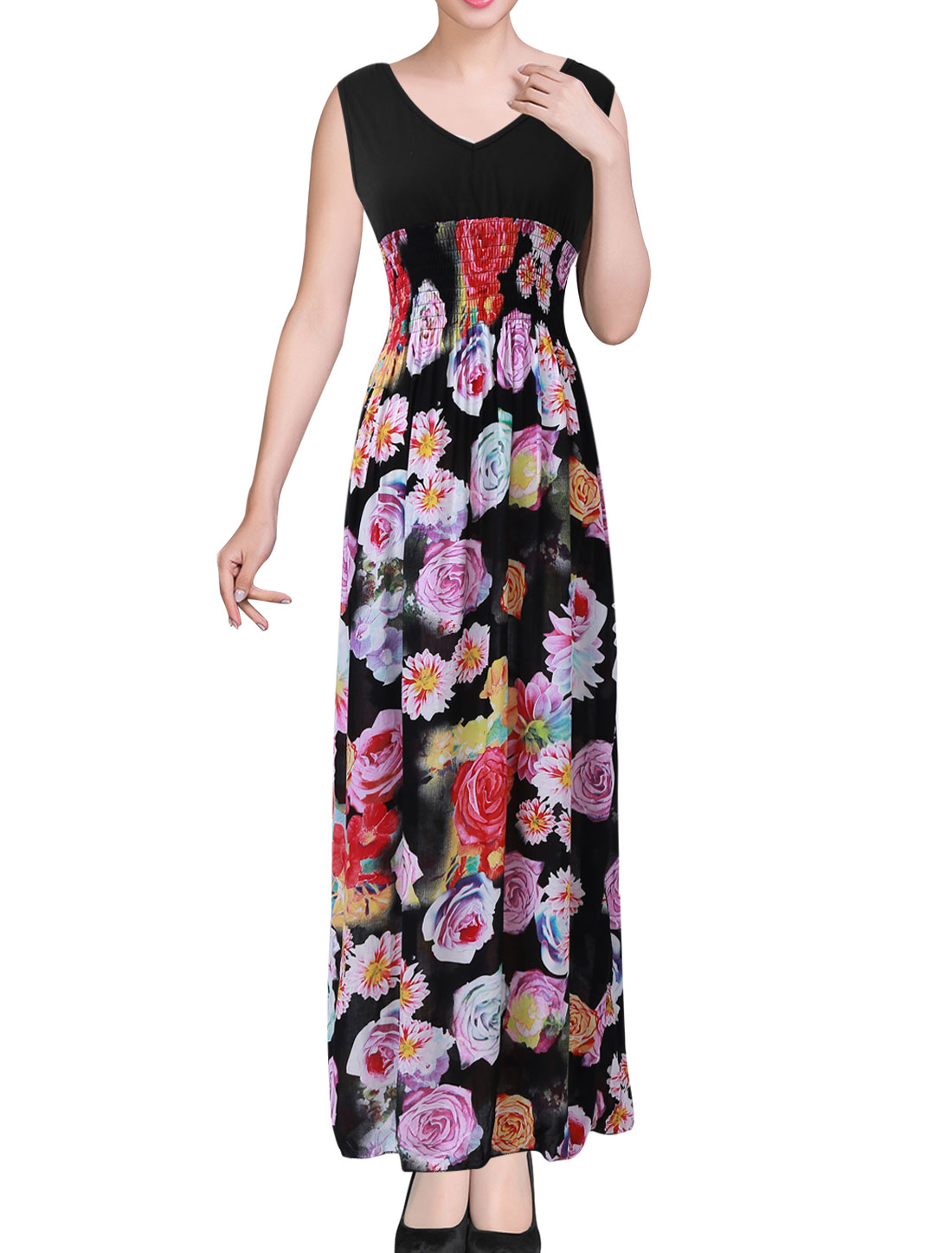 Ladies Floral Print Sleeveless Casual Maxi Dress Black Yellow S