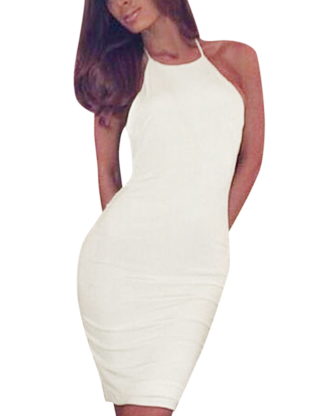 Woman Halter Neck Sleeveless Open Back Slim Fit Sexy Wiggle Dress White L