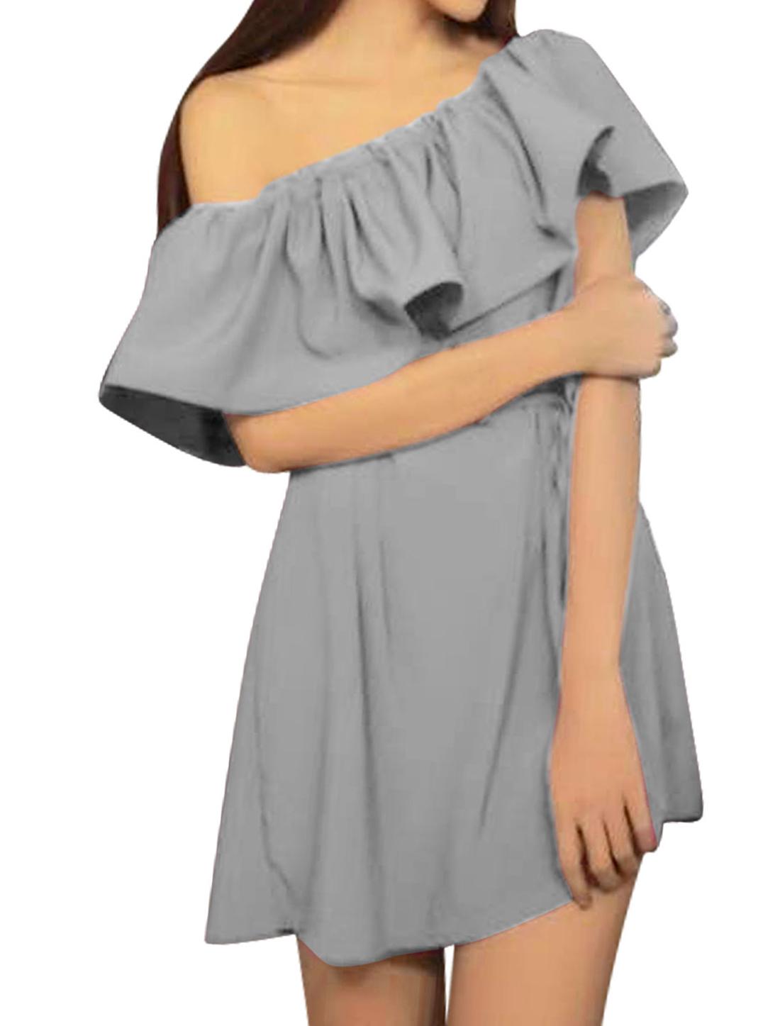 Ladies Off Shoulder Flounced Upper Unlined A-Line Dress Gray S