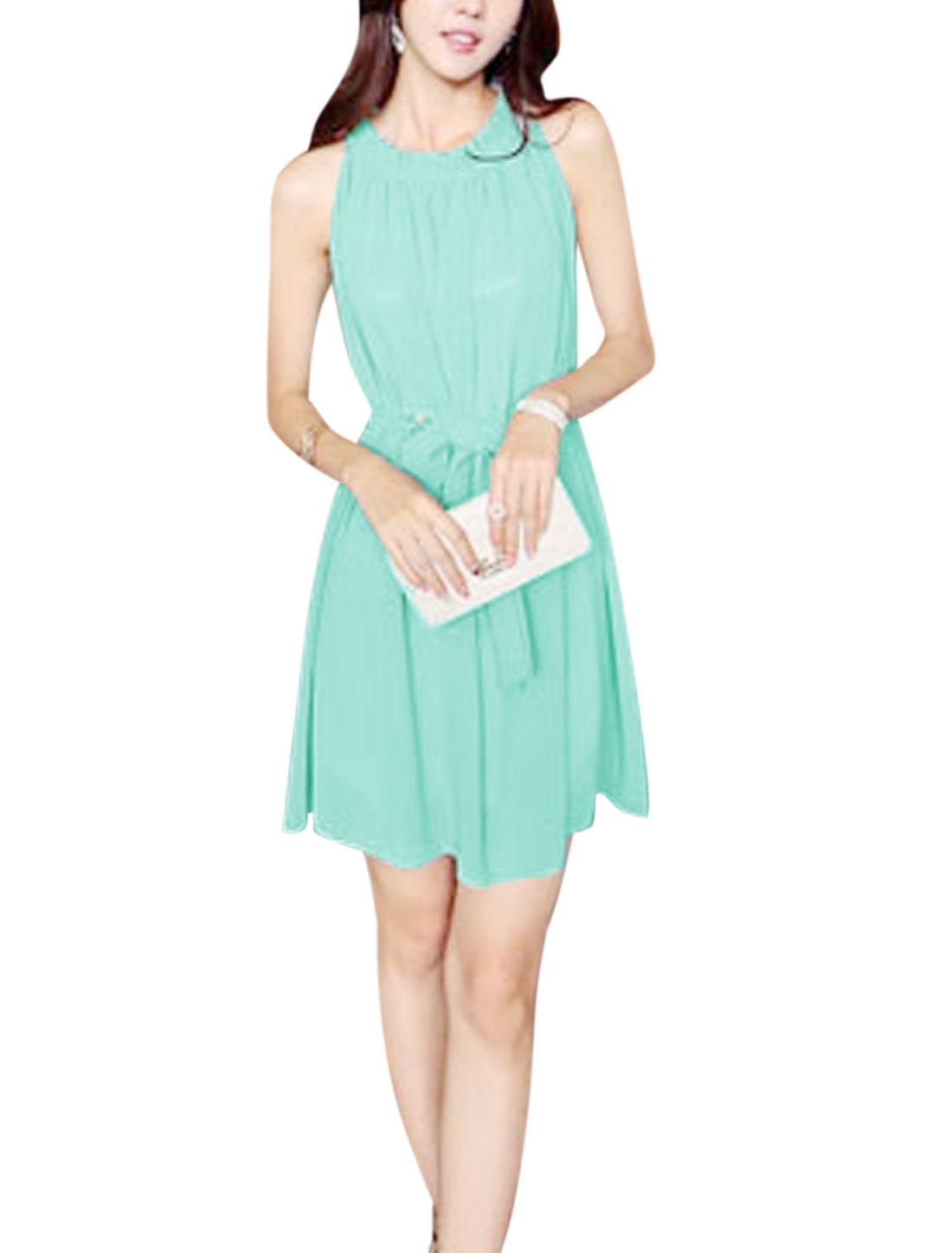 Woman Halter Neck Ruffled Collar Sleeveless Belted Chiffon Dress Mint XS