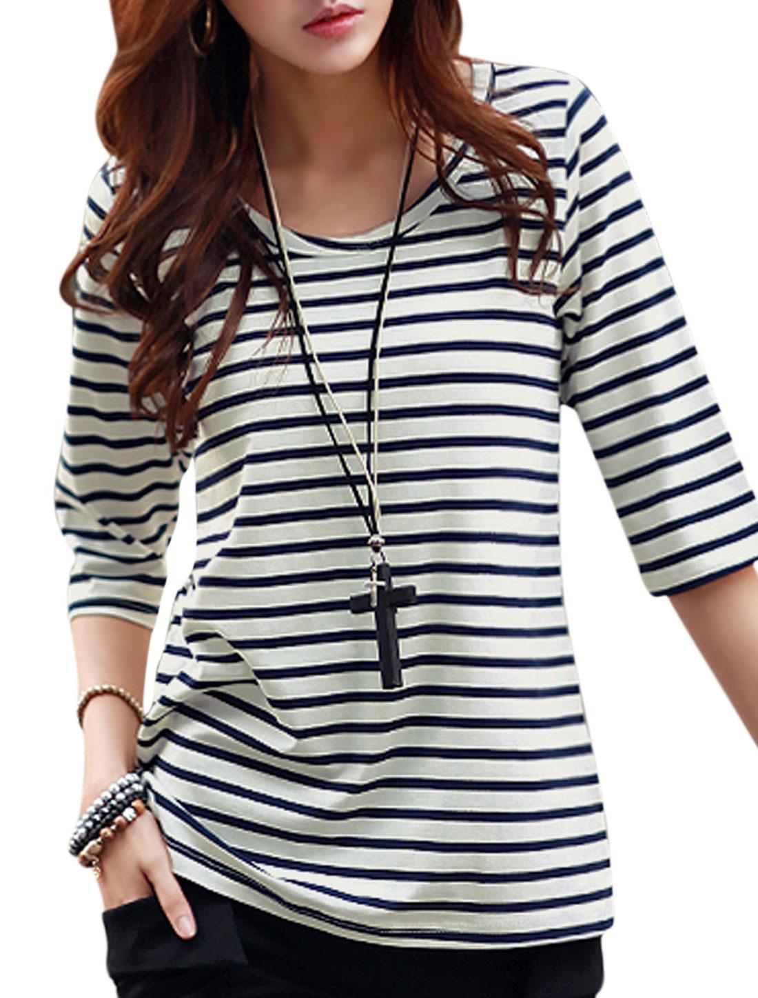 Ladies Three Quarter Sleeves Round Neck Striped Tee Navy Blue XS