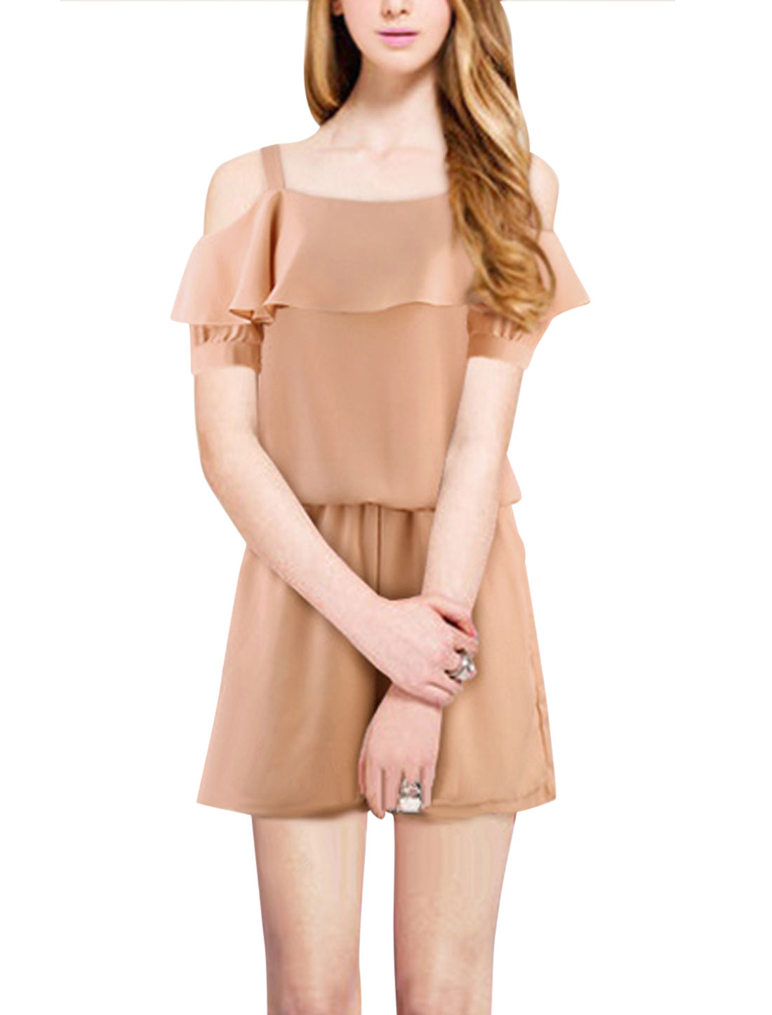 Ladies Square Neck Layered Upper Elastic Waist Romper Pale Pink L