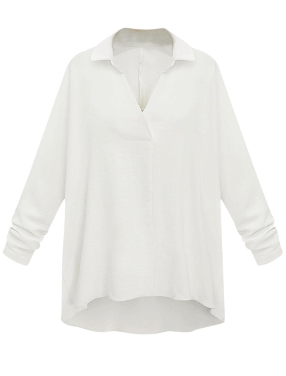 Woman Long Raglan Sleeves High Low Hem Slipover Casual Shirt White L