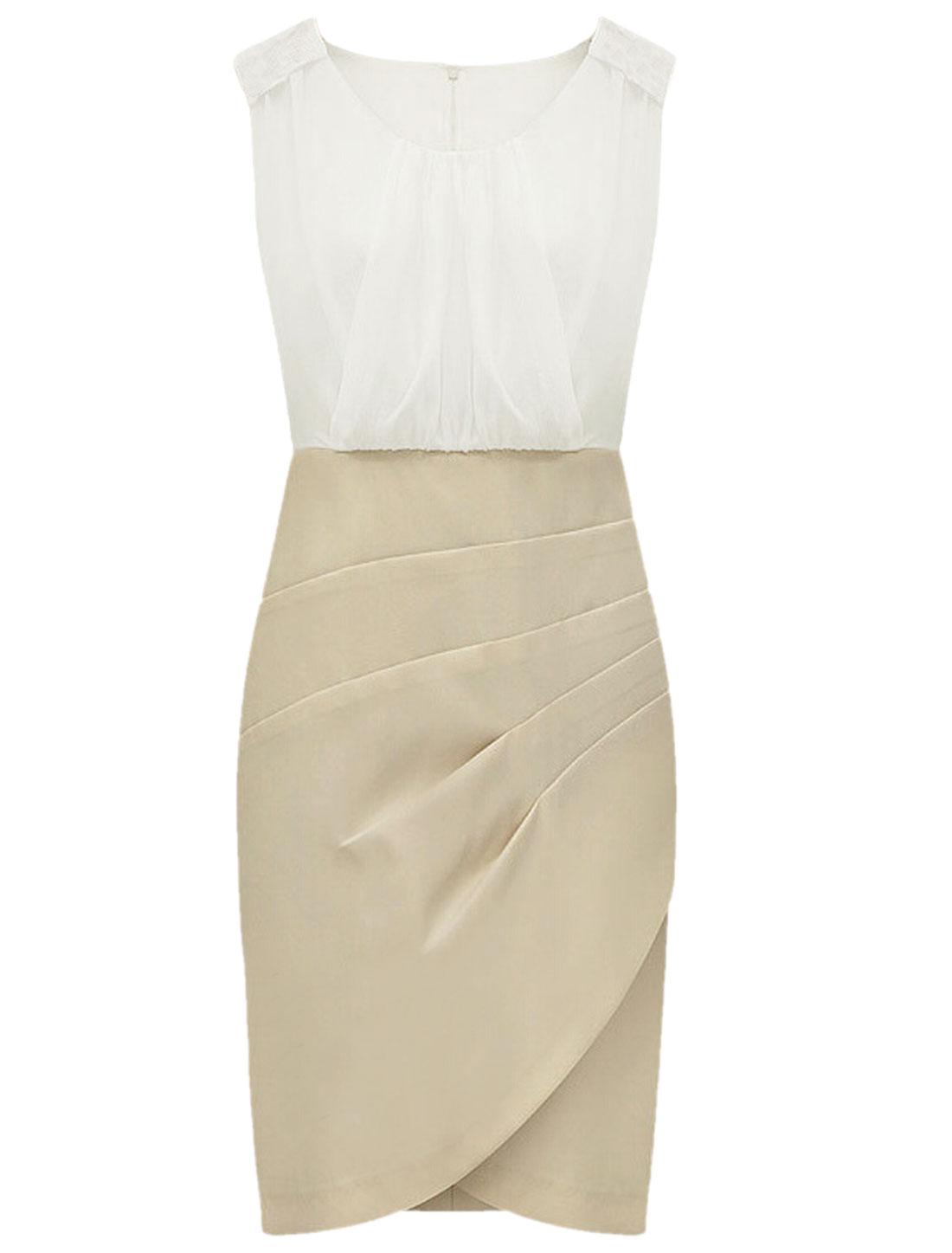 Women Round Neck Sleeveless Chiffon Panel Unlined Sheath Dress Khaki White S
