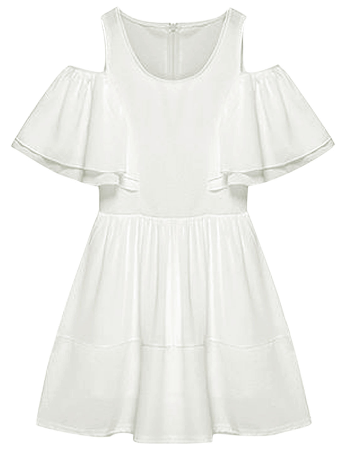 Women Round Neck Chiffon Panel Cut Out Shoulder A-Line Dress White S