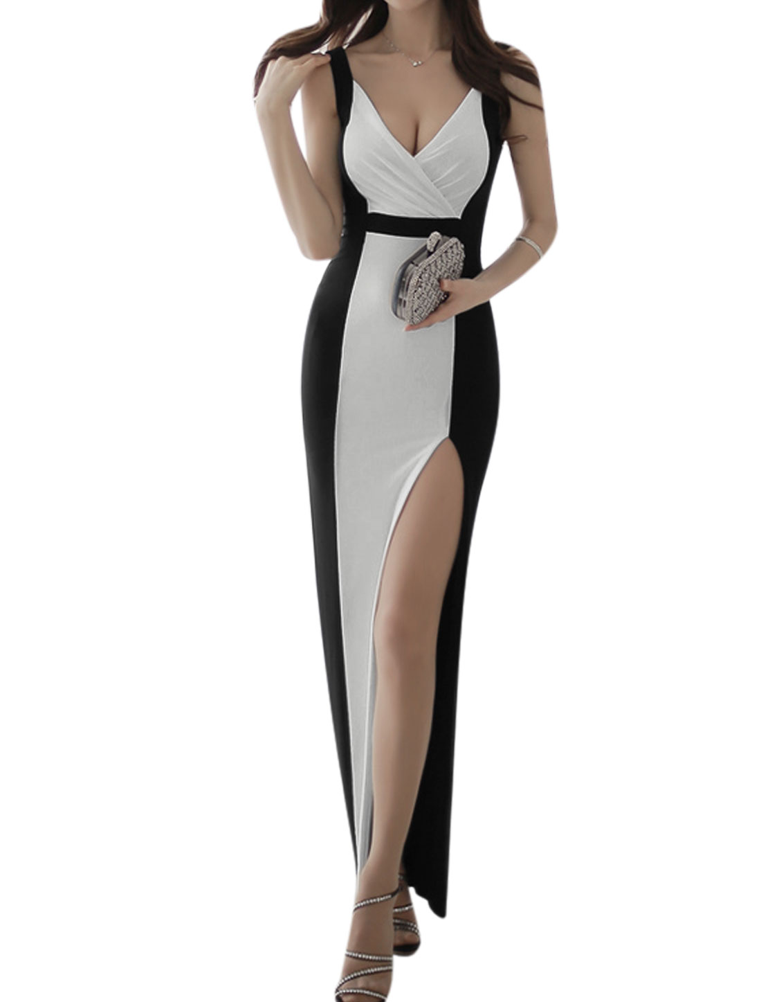Women Crossover V Neck Sleeveless Color Blocked Maxi Dress White Black M