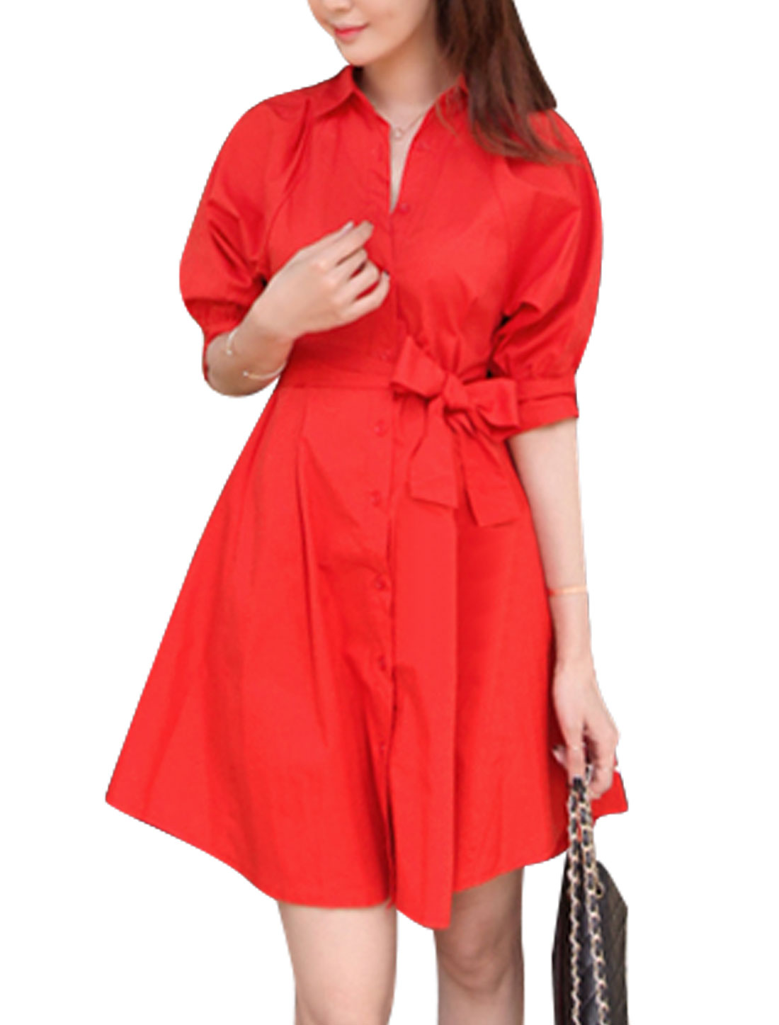 Women Point Collar Button Down Short Sleeves Shirt Dress w Waist Belt Red XS