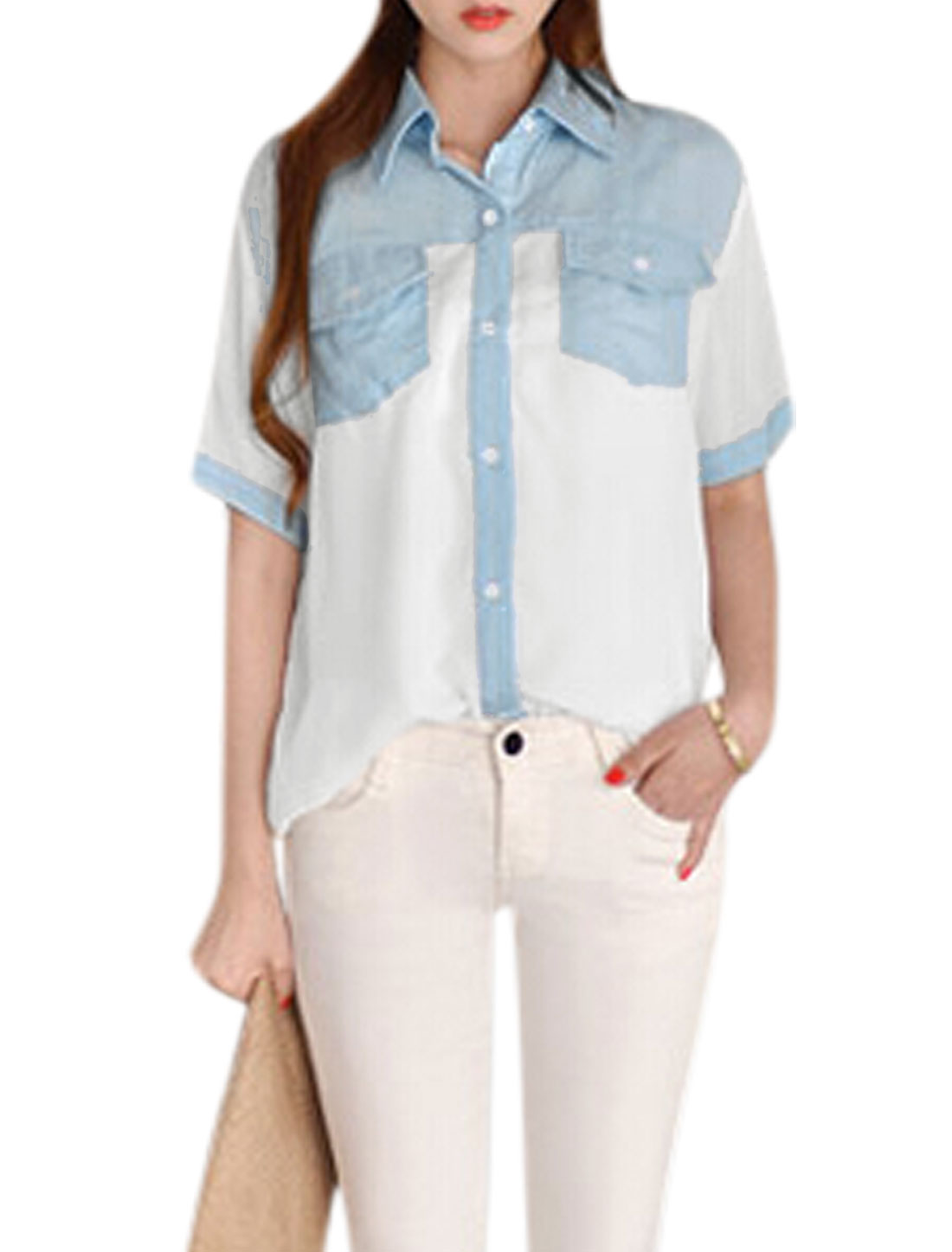 Ladies Button Up Short Sleeve Bust Pockets Contrast Color Tunic Shirt White XS