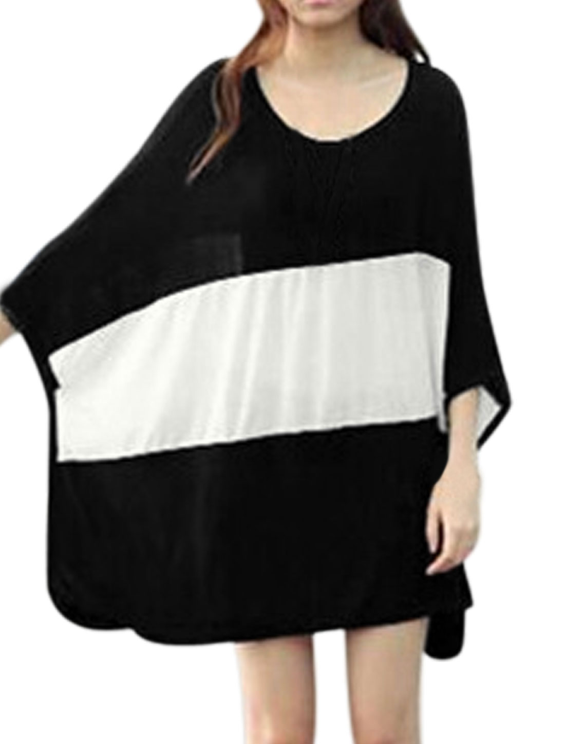 Women Long Batwing Sleeves Color Block Loose Fit Tunic Tops Black White L