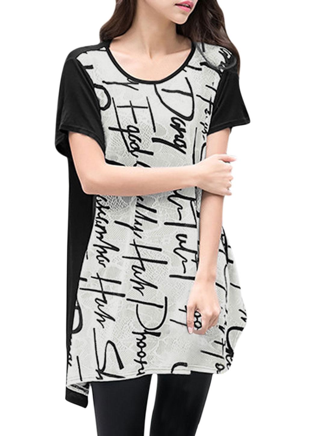 Women Short Sleeves Letters Prints Irregular Hem Tunic Shirt White Black S